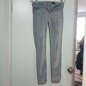Light gray super skinny ankle Ag jeans